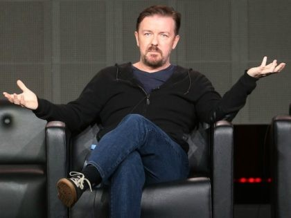 PASADENA, CA - JANUARY 09: Writer Ricky Gervais of the television show 'Derek' speaks during the 2013 Winter Television Critics Association Press Tour at the Langham Hotel and Spa on January 9, 2013 in Pasadena, California. (Photo by Frederick M. Brown/Getty Images)