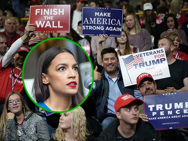 (INSET: Alexandria Ocasio-Cortez) CHATTANOOGA, TENNESSEE - NOVEMBER 04: Supporters of U.S. President Donald Trump hold up signs during a campaign rally for Rep. Marsha Blackburn (R-TN) and other Tennessee Republican candidates at the McKenzie Arena November 4, 2018 in Chattanooga, Tennessee. Blackburn, who represents Tennessee's 7th Congressional district in the …