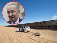 (INSET: Chuck Schumer) TOPSHOT - A Border Patrol car drags tires in the sand to make it easier to look for foot prints next to the US-Mexico border fence in the Yuha desert near Calexico, California, on December 30, 2018. - The increasing militarization of the border is forcing immigrants …