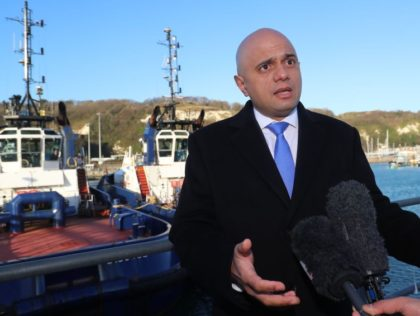 DOVER, ENGLAND - JANUARY 2: Home Secretary Sajid Javid meeting Border Force staff on board HMC Searcher on January 2nd, 2018 in Dover, England. The UK is stepping up patrols after a recent surge in the number of migrants attempting to navigate the English Channels busy shipping lanes in small …