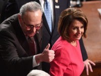 Incoming Speaker of the House Nancy Pelosi, D-CA, and Senator Chuck Schumer, D-NY, arrive for the beginning of the 116th US Congress at the US Capitol in Washington, DC, January 3, 2019. (Photo by SAUL LOEB / AFP) (Photo credit should read SAUL LOEB/AFP/Getty Images)