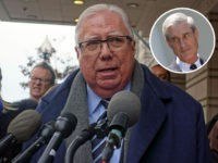 (INSET: Robert Mueller) US conservative political activist Jerome Corsi speaks outside the US Federal District Courthouse in Washington on January 3, 2019, after a hearing in his lawsuit against Russia collusion investigation chief Robert Mueller. - Corsi, is suspected of having had advance knowledge that WikiLeaks would, in the summer …