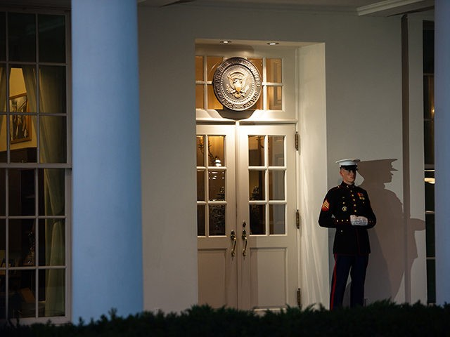A US Marine stands outside the West Wing of the White House in Washington, DC, January 8, 2019, ahead of an address on border security and the government shutdown from US President Donald Trump. (Photo by SAUL LOEB / AFP) (Photo credit should read SAUL LOEB/AFP/Getty Images)