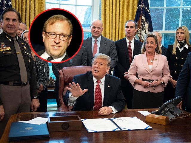 (INSET: ABC News's Jon Karl) US President Donald Trump speaks while signing a bill for Anti-Human Trafficking Legislation at White House in Washington, DC, on January 9, 2018. - This bill, which passed the House and Senate unanimously, would renew existing programs that make federal resources available to human trafficking …