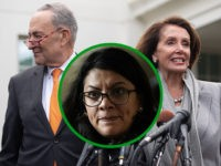(INSET: Rashida Tlaib) US Speaker of the House Nancy Pelosi and Senate Democratic Leader Chuck Schumer speak to the media following a meeting with US President Donald Trump about the partial government shutdown at the White House in Washington, DC, January 9, 2019. - Trump stormed out of negotiations Wednesday …