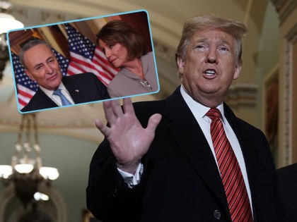(INSET: Chuck Schumer and Nancy Pelosi) WASHINGTON, DC - JANUARY 09: U.S. President Donald Trump arrives at the U.S. Capitol to attend the weekly Republican Senate policy luncheon January 09, 2019 in Washington, DC. Trump is meeting with GOP lawmakers to shore up their resolve and support for his proposed …