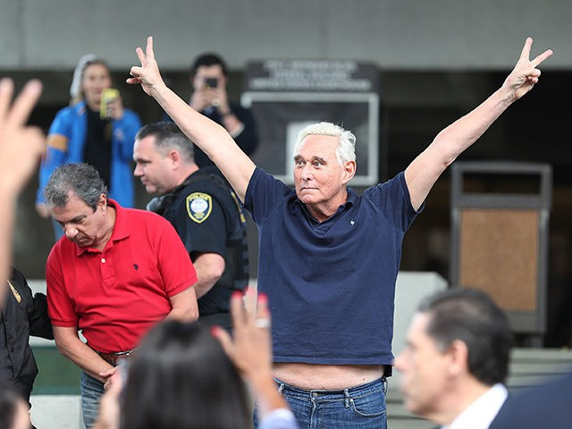FORT LAUDERDALE, FLORIDA - JANUARY 25: Roger Stone, a former advisor to President Donald Trump, exits the Federal Courthouse on January 25, 2019 in Fort Lauderdale, Florida. Mr. Stone was charged by special counsel Robert Mueller of obstruction, giving false statements and witness tampering. (Photo by Joe Raedle/Getty Images)