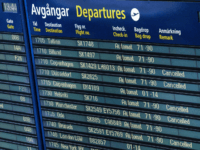 Cancelled flights of Scandinavian Airlines SAS are seen on the info board at Arlanda airport north of Stockholm, Sweden, June 13, 2016. SAS cancelled 230 flights from Stockholm Arlanda airport affecting 27000 passengers following the ongoing pilot strike. / AFP / TT News Agency / Johan Nilsson/TT / Sweden OUT …