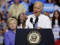 Vice President Joe Biden speaks at a campaign rally for Democratic presidential nominee Hillary Clinton, August 15, 2016, in Scranton, Pennsylvania. / AFP / DOMINICK REUTER (Photo credit should read DOMINICK REUTER/AFP/Getty Images)