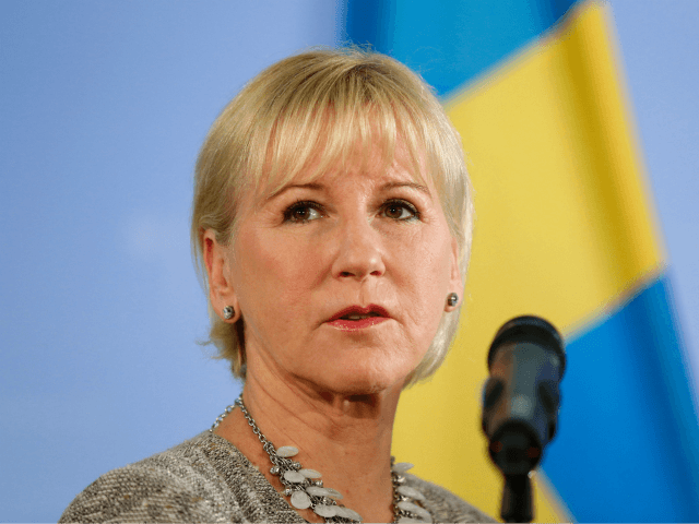 Swedish Foreign Minister Margot Wallstrom listens to a question during a press conference after talks with German Foreign Minister Frank-Walter Steinmeier (unseen) at the Foreign Ministry in Berlin on October 6, 2016. / AFP / Odd ANDERSEN (Photo credit should read ODD ANDERSEN/AFP/Getty Images)