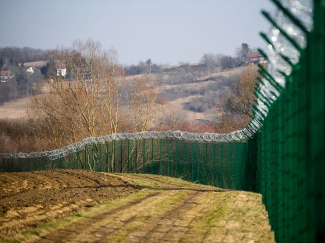 A barbed wire fence is set up along the Slovenian-Croatian border in Rakovec, in Slovenia on February 16, 2017. Slovenia on January 26, 2017 approved a bill allowing police to seal the border with Croatia to migrants in case of a new influx along the so-called Balkan route, sparking condemnation …