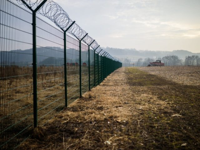A picture taken near the village of Gibina, Slovenia, on February 17, 2017 shows a panel fence set up along the Slovenian-Croatian border. / AFP / Jure MAKOVEC (Photo credit should read JURE MAKOVEC/AFP/Getty Images)
