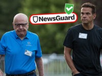 SUN VALLEY, ID - JULY 13: (L to R) Rupert Murdoch, executive chairman of News Corp and chairman of Fox News, and Lachlan Murdoch, co-chairman of 21st Century Fox, walk together as they arrive on the third day of the annual Allen