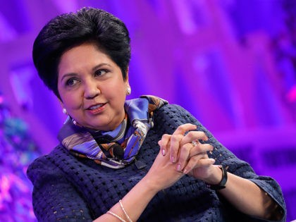 WASHINGTON, DC - OCTOBER 10: Pepsi Chairman and CEO Indra Nooyi speaks onstage at the Fortune Most Powerful Women Summit - Day 2 on October 10, 2017 in Washington, DC. (Photo by Paul Morigi/Getty Images for Fortune)