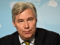 US Senator Sheldon Whitehouse of Rhode Island attends a press conference at the US climate action center on November 11, 2017 during the COP23 United Nations Climate Change Conference in Bonn, Germany. / AFP PHOTO / PATRIK STOLLARZ (Photo credit should read PATRIK STOLLARZ/AFP/Getty Images)