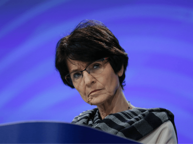 European Union Commissioner for Employment, Social Affairs, Skills and Labour Mobility Marianne Thyssen speaks during a press conference at the European Commission Headquarters in Brussels on March 7, 2018. The EU will set out plans to strike back against US President's threatened steel and aluminium tariffs, with flagship US products …