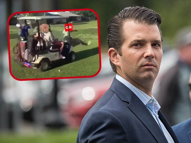 Donald Trump Jr. arrives for a ribbon cutting event for a new clubhouse at Trump Golf Links at Ferry Point, June 11, 2018 in The Bronx borough of New York City. According to President Donald Trump's latest financial disclosures, the Trump Organization oversees 17 golf courses and clubs, generating $221 …