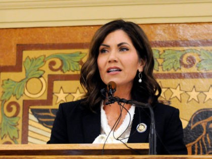 South Dakota Gov. Kristi Noem gives her first State of the State address in Pierre, S.D., Tuesday, Jan. 8, 2019.