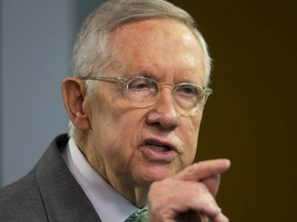 "Senate Minority Leader Harry Reid, D-Nev., speaks at Center for American Progress Action Fund, in Washington, Thursday, March 17, 2016. Reid accused the House and Senate Republican leadership of ""moral cowardice"" for failing to stand up to GOP presidential front-runner Donald Trump. (AP Photo/Manuel Balce Ceneta)"
