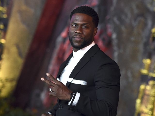 "Kevin Hart arrives at the Los Angeles premiere of ""Jumanji: Welcome to the Jungle"" on Monday, Dec. 11, 2017 in Hollywood, Calif. (Photo by Jordan Strauss/Invision/AP)"