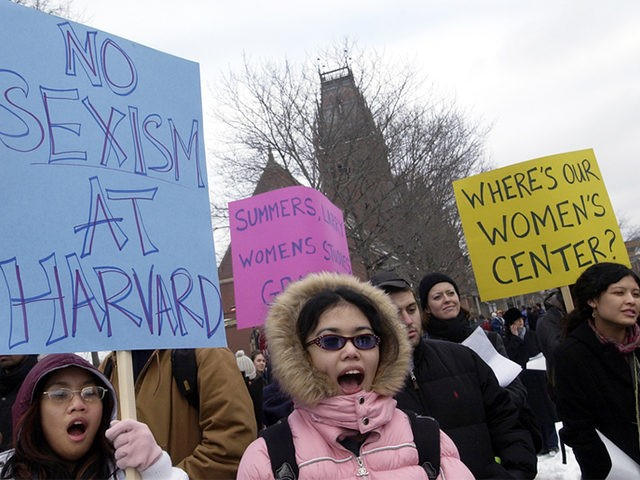 Harvard women protesting