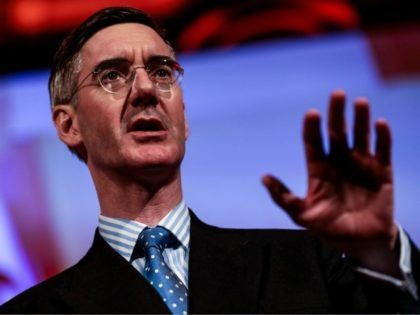 LONDON, ENGLAND - DECEMBER 14: Conservative MP Jacob Rees-Mogg speaks during a 'Leave Means Leave' Brexit rally at the Queen Elizabeth II Centre on December 14, 2018 in London, England. Several politicians and public figures will speak at a series of rallies by the Leave Means Leave campaign calling on …