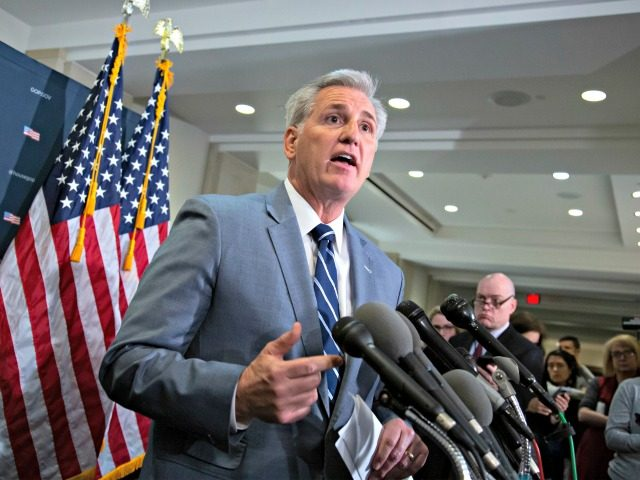 House Minority Leader Kevin McCarthy of Calif., speaks to reporters after a House Republican strategy meeting with Vice President Mike Pence ahead of President Donald Trump's speech on funding a wall on the US-Mexico border, at the Capitol in Washington, Tuesday, Jan. 8, 2019.