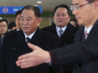 Kim Yong Chol (C), who leads a North Korean high-level delegation to attend the Pyeongchang 2018 Winter Olympic Games closing ceremony, arrives at the inter-Korea transit office in Paju on February 25, 2018. The blacklisted North Korean general arrived in the South on February 25 for the Winter Olympics closing …