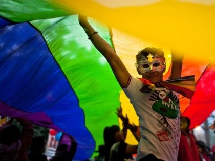NEW DELHI, INDIA - NOVEMBER 27: A boy dances as he and others participate during the 4th Delhi Queer Pride 2011 March on November 27, 2011 in New Delhi, India. India's Lesbian, Gay, Bisexual and Transgender (LGBT) community celebrated the 4th Delhi Queer Pride March with a parade through the …