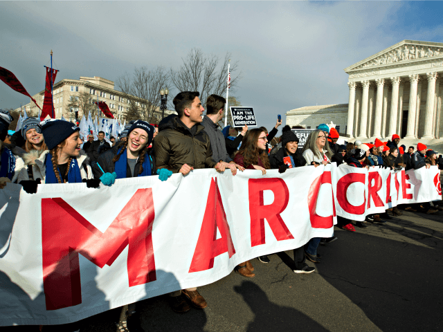 Anti-abortion activists march outside of the U.S. Supreme Court, during the March for Life in Washington Friday, Jan. 18, 2019.