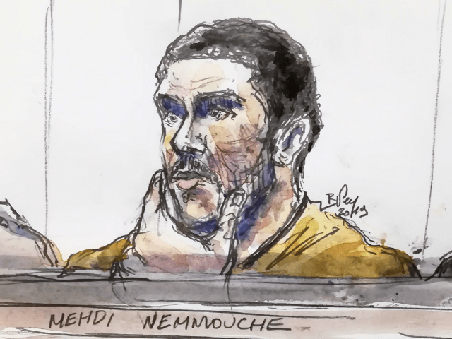 A court sketch made on January 10, 2019 shows Mehdi Nemmouche, accused of the terrorist attack at the Jewish Museum in Brussels in 2014, during his trial at the Brussels Justice Palace. - Mehdi Nemmouche, 33, faces a life sentence if convicted of the killings in the Belgian capital on …