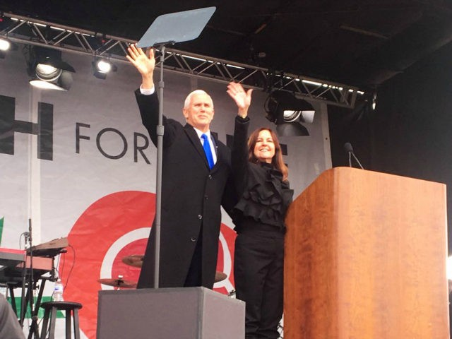 Vice President Mike Pence surprised the massive March for Life crowd in Washington, DC, Friday, supporting life and introducing a message from President Donald Trump.