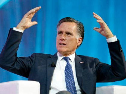 In this Jan. 19, 2018, file photo, former Republican presidential candidate Mitt Romney speaks about the tech sector during an industry conference, in Salt Lake City. Romney plans to announce his Utah Senate campaign Thursday, Feb. 15, 2018. Three people with direct knowledge of the plan say Romney will formally …