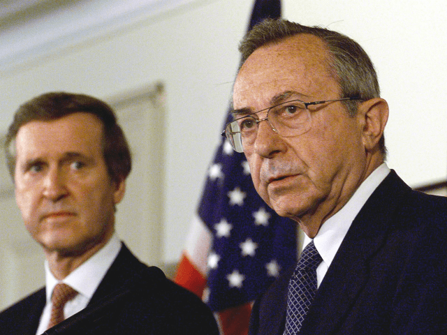 WASHINGTON, : Israeli Defense Minister Moshe Arens (R) answers reporters' questions during a joint press conference with US Secretary of Defense William Cohen (L) after their meeting and full honors arrival ceremony 27 April 1999 at the Pentagon in Washington, DC. Arens is in the US to discuss fighter jets; …