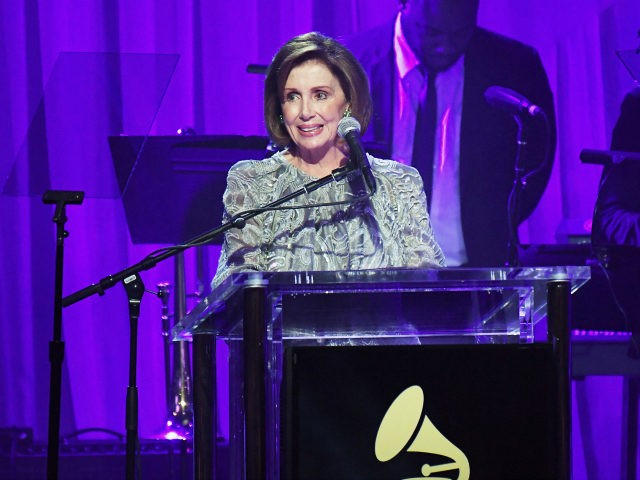 Minority Leader of the United States House of Representatives Nancy Pelosi speaks onstage at the Pre-GRAMMY Gala and Salute to Industry Icons Honoring Debra Lee at The Beverly Hilton on February 11, 2017 in Los Angeles, California. (Photo by Kevork Djansezian/Getty Images)