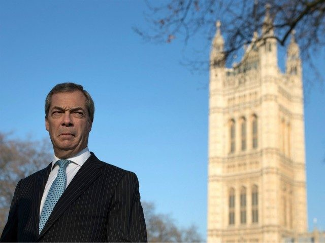 LONDON, ENGLAND - JANUARY 24: Former UKIP leader Nigel Farage conducts a television interview in Victoria Tower Gardens on January 24, 2017 in London, England. Judges ruled by a majority of 8 to 3 that the government cannot trigger Article 50 without an act of Parliament. (Photo by Dan Kitwood/Getty …