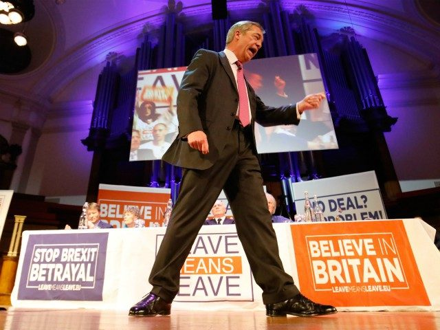 MEP and former UKIP leader Nigel Farage speaks at a political rally entitled 'Lets Go WTO' hosted by pro-Brexit lobby group Leave Means Leave in London on January 17, 2019. - British Prime Minister Theresa May scrambled to put together a new Brexit strategy on Thursday after MPs rejected her …