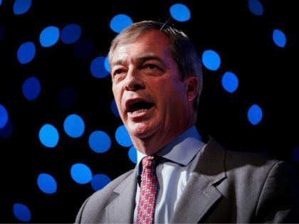 BOLTON, ENGLAND - SEPTEMBER 22: Nigel Farage, MEP and Vice Chairman of the pro-Brexit Leave Means Leave organisation attends a Leave Means Leave rally held at the University of Bolton Stadium on September 22, 2018 in Bolton, England. The Bolton rally is the first in a series of Leave Means …