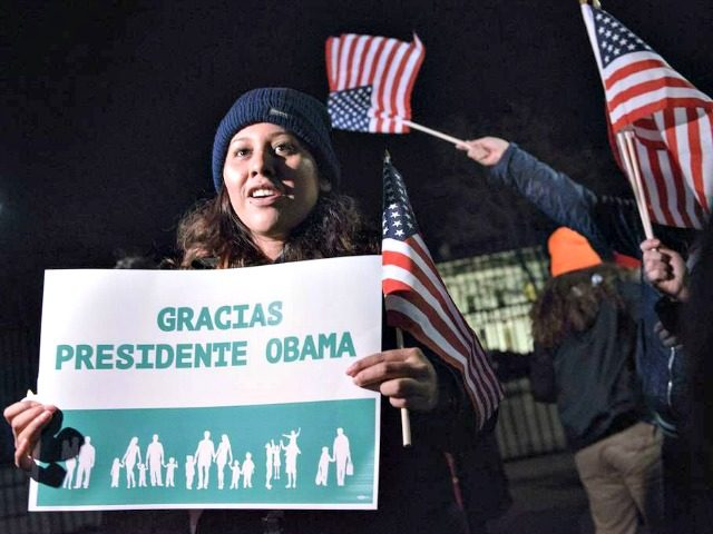 Activists celebrate the President's action on immigration outside the White House