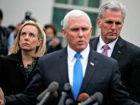 Secretary of Homeland Security Kirstjen Nielsen, left, and House Minority Leader Kevin McCarthy of Calif., right, listen as Vice President Mike Pence talks with reporters after a meeting with President Donald Trump and Democratic leaders on border security in the Situation Room of the White House, Wednesday, Jan. 9, 2019, …