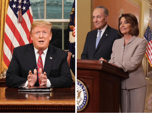 Donald Trump vs. Chuck Schumer and Nancy Pelosi (Carlos Barria-Pool / Getty and Chip Somodevilla / Getty)