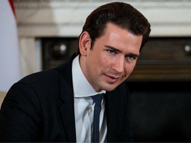 LONDON, ENGLAND - NOVEMBER 22: Austrian Chancellor Sebastian Kurz meets with British Prime Minister Theresa May (not seen) at Downing Street on November 22, 2018 in London, England. Mrs May and Mr Kurz, who currently holds the rotating presidency of the EU, will hold talks at Number 10 today as …