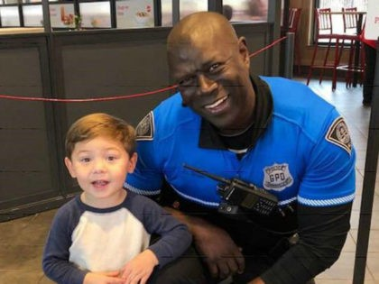 Terence Brister, a South Carolina police officer, found a friend in a boy at a local Chick-fil-A last week, shortly after the boy approached him at the restaurant to thank him for his service.