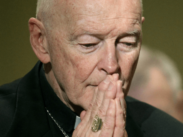 In this Nov. 14, 2011 file photo, Cardinal Theodore McCarrick prays during the United States Conference of Catholic Bishops' annual fall assembly in Baltimore. Recent revelations of sexual misconduct and cover-up in the U.S. Catholic Church have revived the sense of betrayal that devastated the American church's credibility after the …