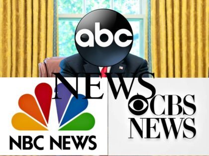 Trump Oval Hidden by Network Logos