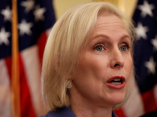 WASHINGTON, DC - SEPTEMBER 18: U.S. Sen. Kirsten Gillibrand (D-NY) speaks at a news conference supporting Puerto Rico's recovery from Hurricane Maria September 18, 2018 in Washington, DC. President Donald Trump has disputed the death toll of 3,000 attributed to Maria last year announced in late August by George Washington …
