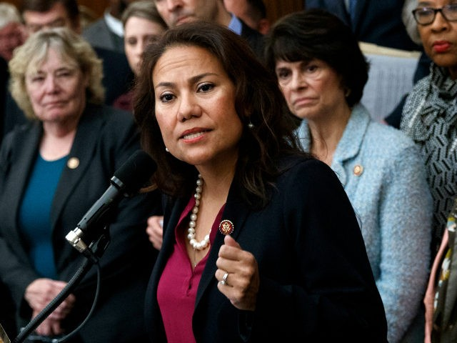 Rep. Veronica Escobar, D-Texas, speaks during a news conference on Capitol Hill in Washington, Friday, Jan. 4, 2019, about the introduction of H.R. 1 - For the People Act. (AP Photo/Carolyn Kaster)