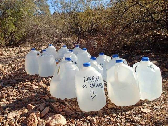 Water Jugs in Desert (Photo: Facebook/No More Deaths)
