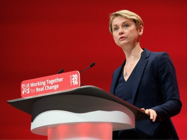 LIVERPOOL, ENGLAND - SEPTEMBER 28: Yvette Cooper, Chair of the Labour Party Refugee taskforce, addresses delegates in the main hall on day four of the Labour Party conference, on September 28, 2016 in Liverpool, England. On the last day of the annual Labour party conference, leader Jeremy Corbyn will deliver …