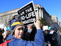 Anti-abortion activists from around the US gather in Washington, DC January 19, 2018 for the annual 'March for Life.' / AFP PHOTO / Eva HAMBACH (Photo credit should read EVA HAMBACH/AFP/Getty Images)